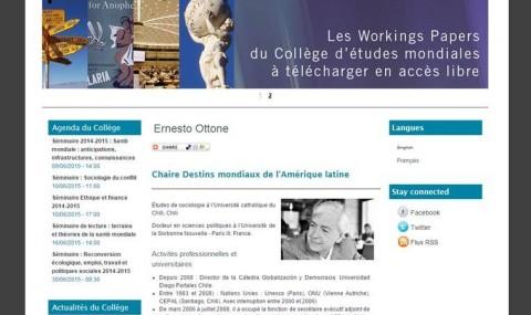 Ernesto Ottone Dicta Conferencia en Collège d'Etudes Mondiales sobre Democracia y Populismos en Europa y América Latina